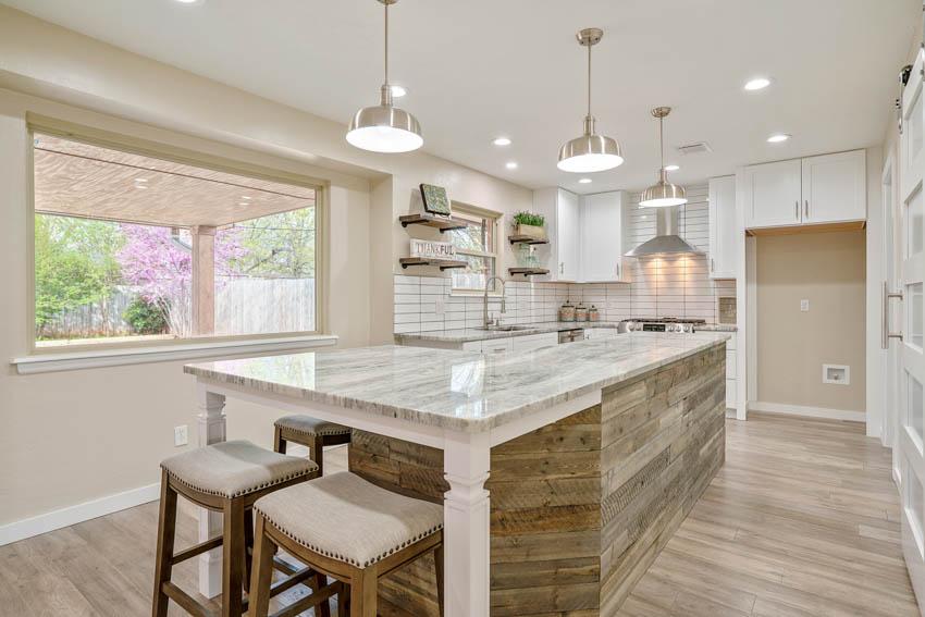 Unique center island barnwood floor kitchen white wall pendant lighting