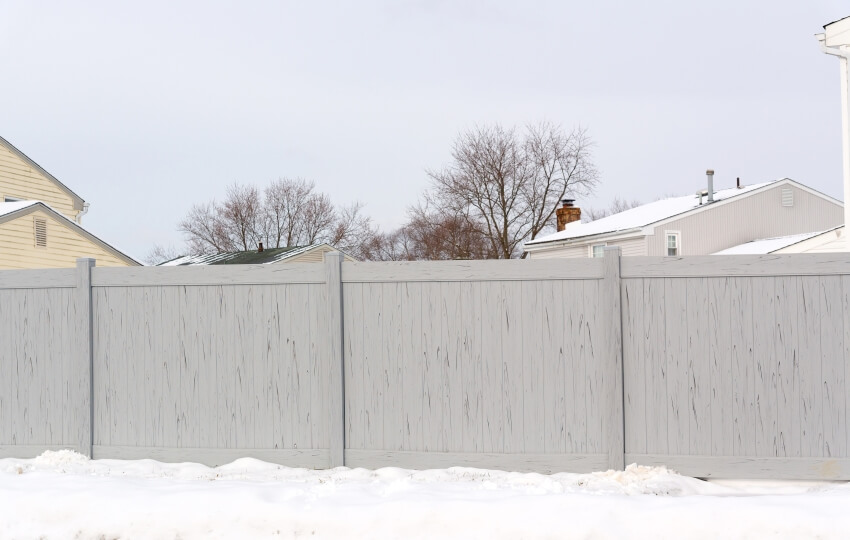 Vinyl gray fence home wall plastic with in white snowy weather
