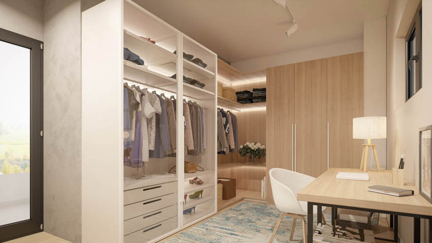 Walk in closet home office wood table