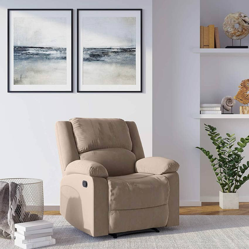 Wall hugger recliner chair living room