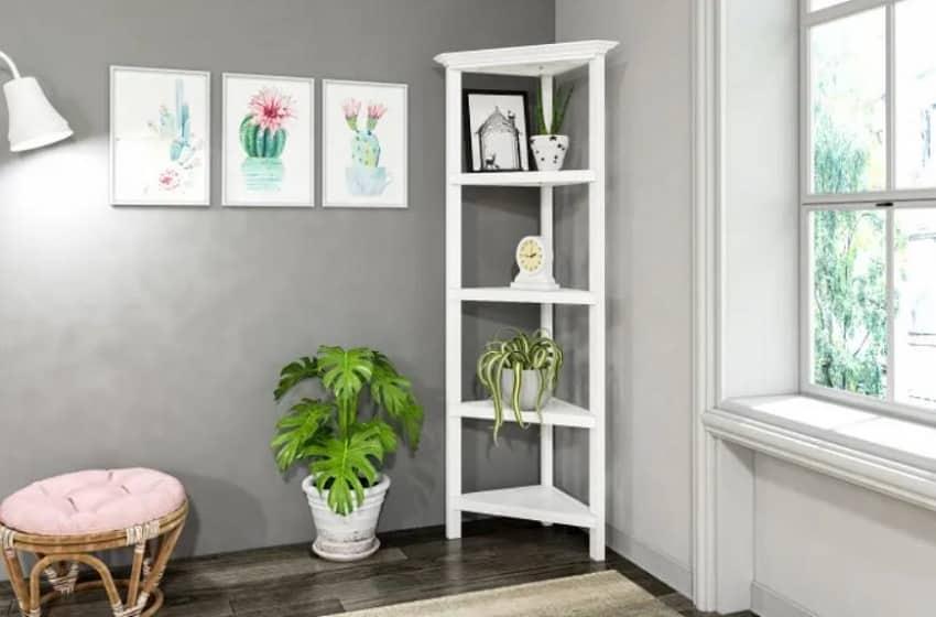 White 4 tier corner wooden bookcase