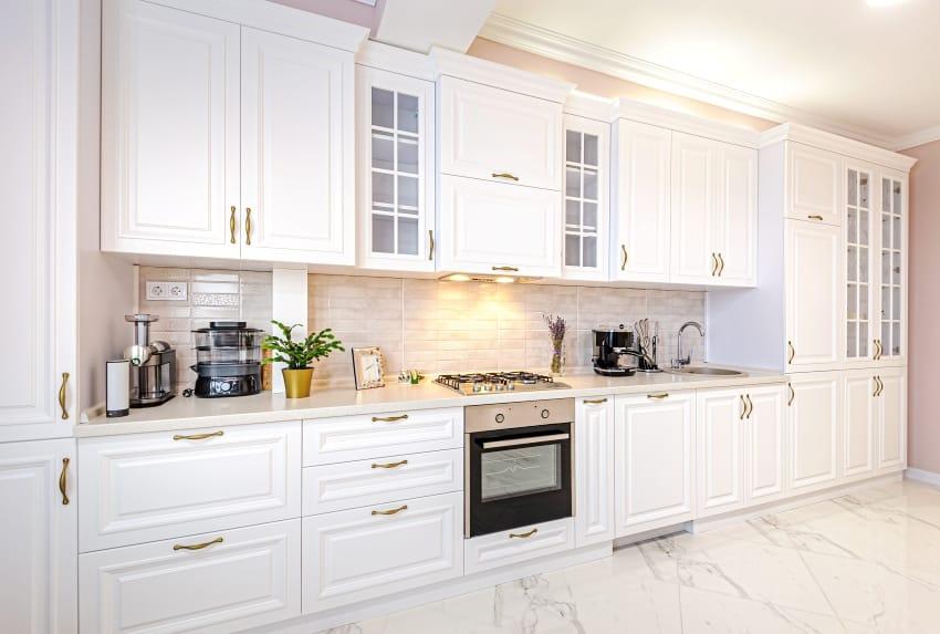 white kitchen interior with white maple cabinets