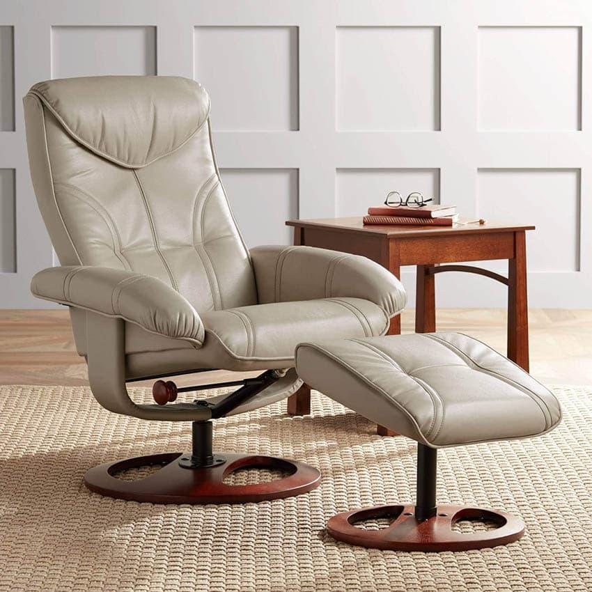 White swivel recliner chair