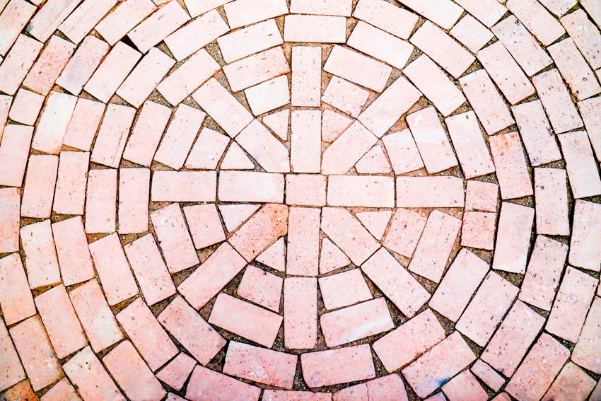 Whorled red bricks pattern