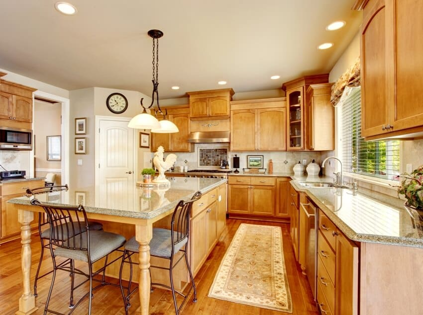 Wooden kitchen interior with gray walls