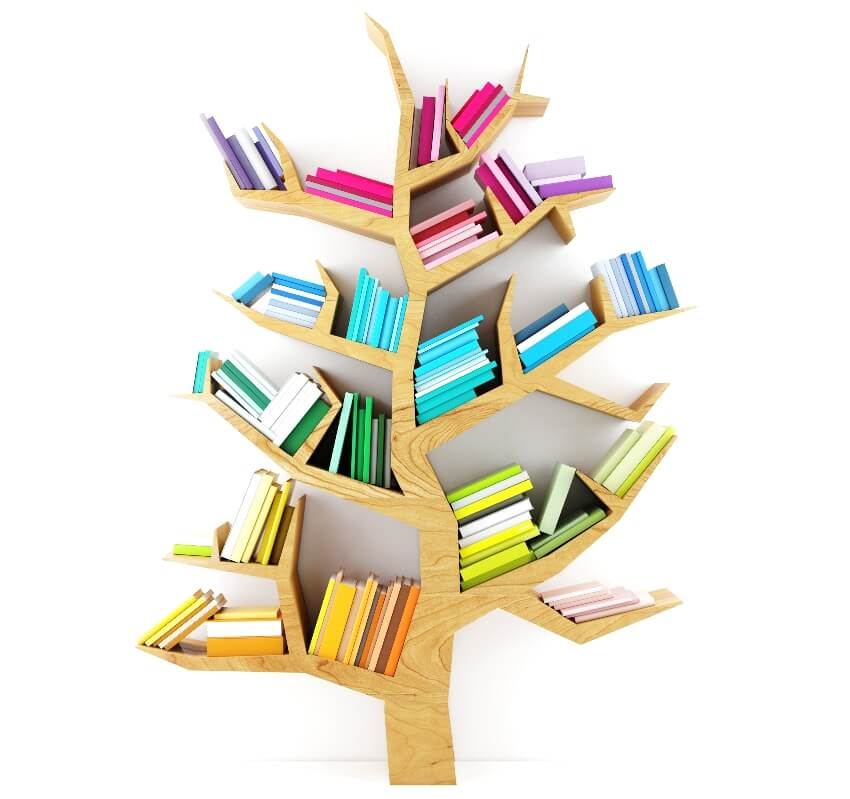 A wooden tree style bookshelf with multicolor books