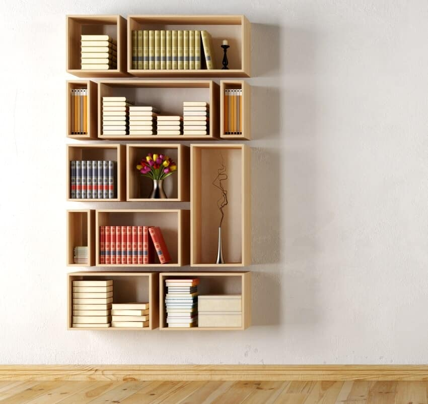 A wooden wall with rectangular bookcase