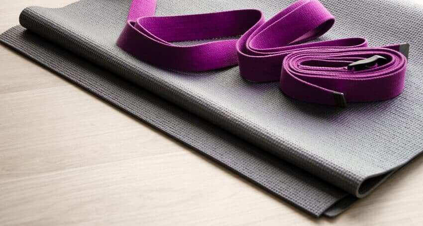 Yoga equipment straps and mat close up