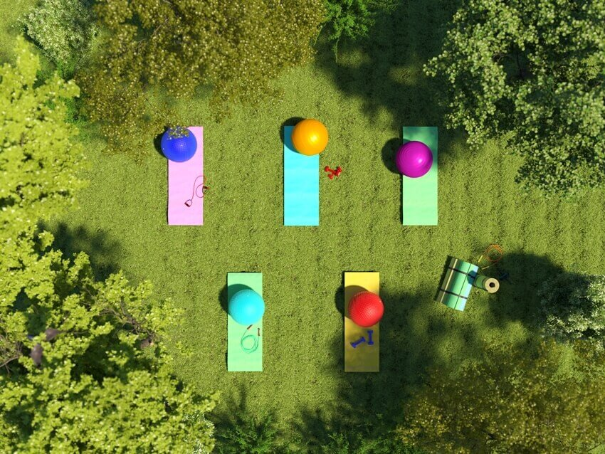 A yoga mat and fitness ball on grass with surrounding trees on the top view