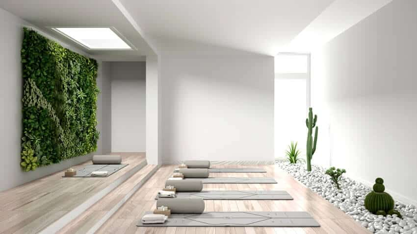 Yoga studio interior design with mats pillows and accessories parquet vertical garden and succulent plants with pebbles