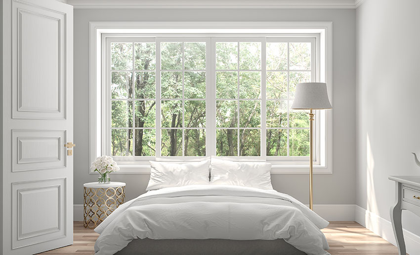 Bedroom with sliding windows gray paint lampshade