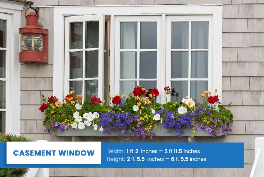 Casement window size