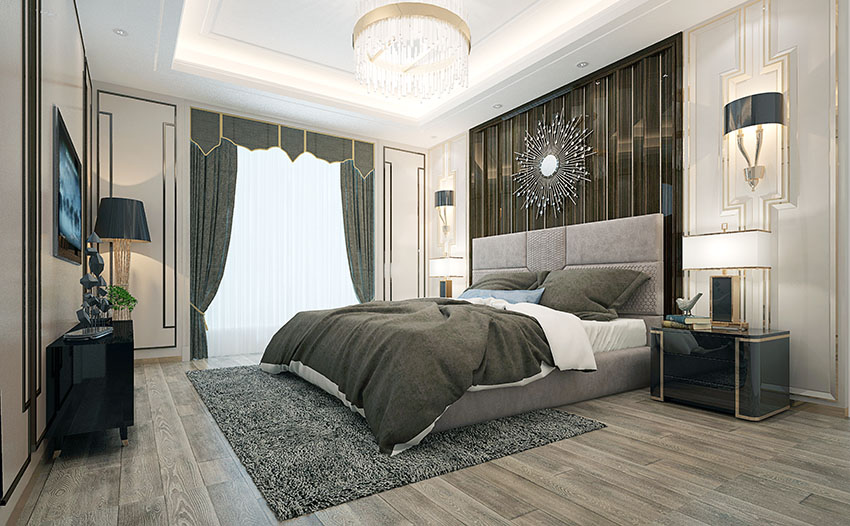Elegant bedroom with king size bed curtain