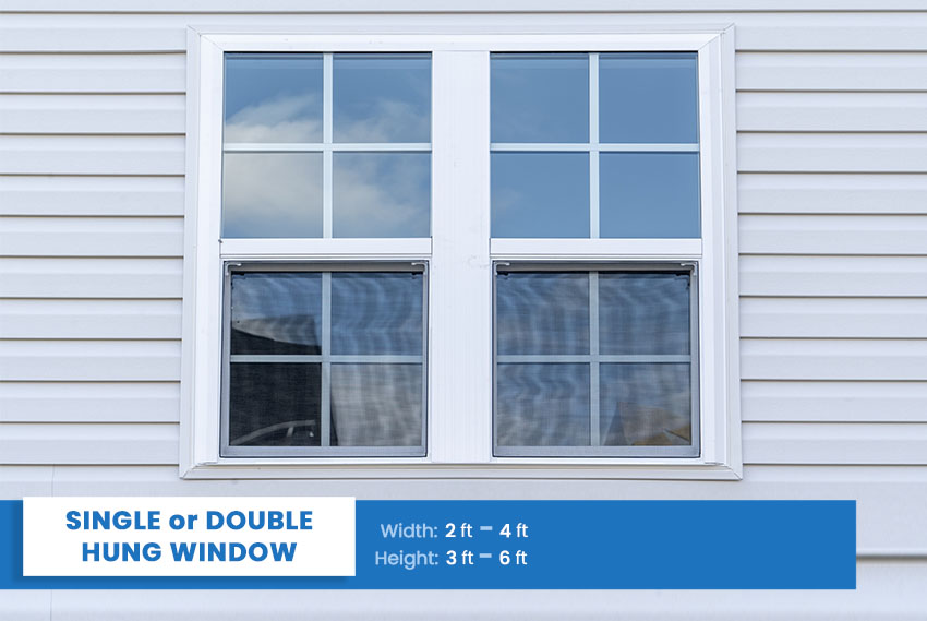 Single or Double hung window size