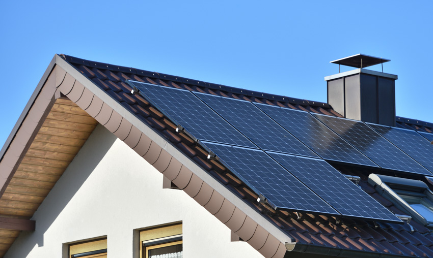 Angle of pitched roof solar panels chimney