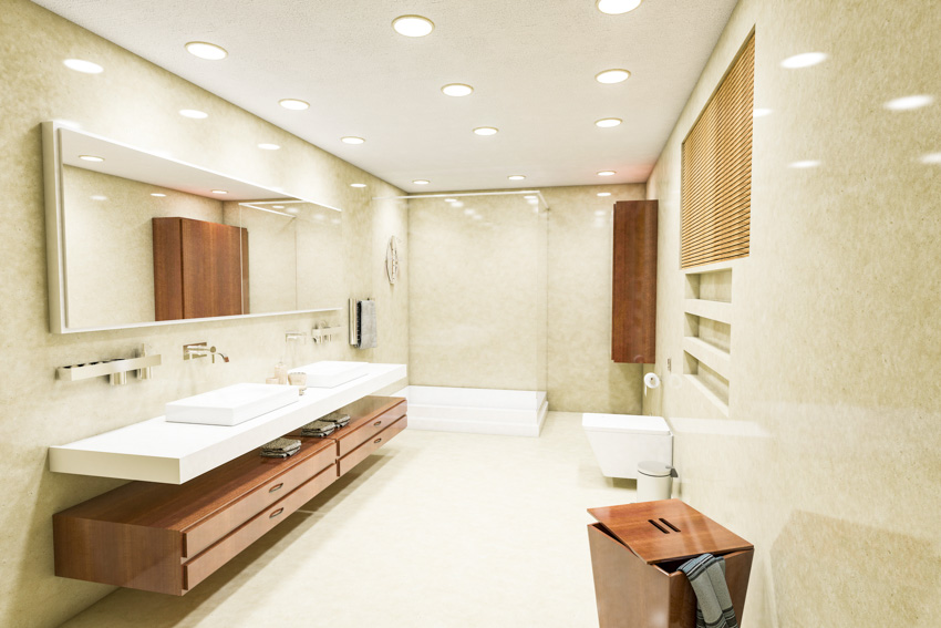 Bathroom with recessed led lights