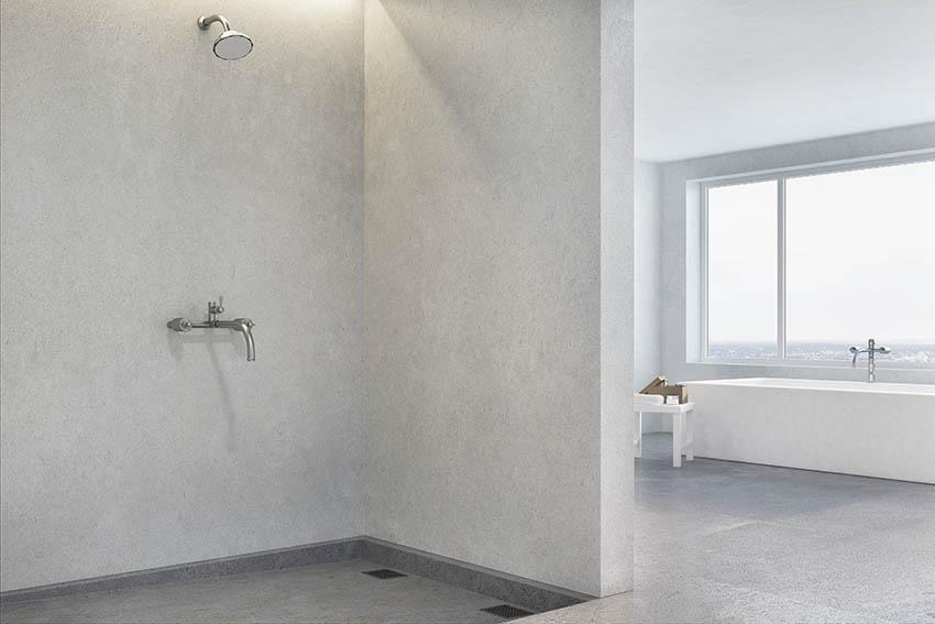 Bathroom with white plaster shower