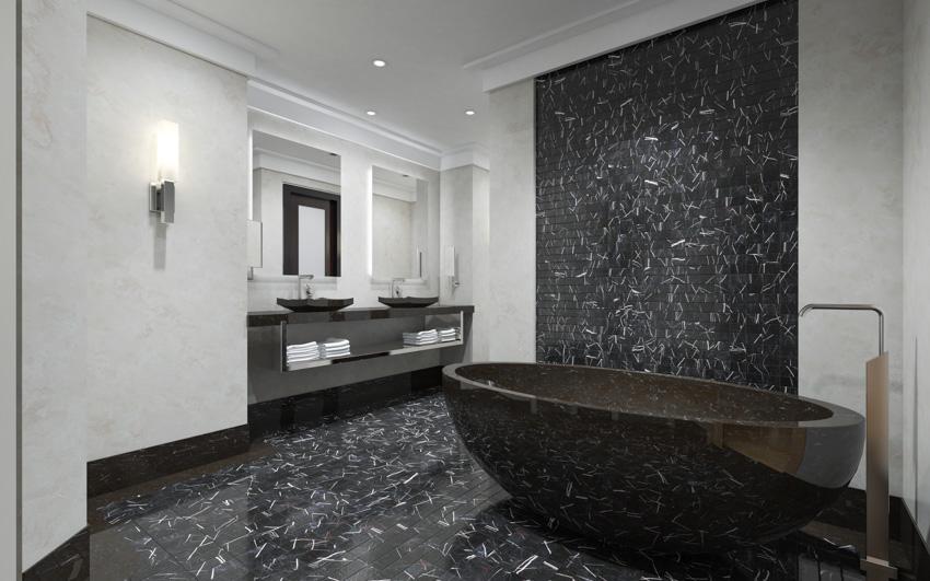 Black porcelain tiles that look like marble