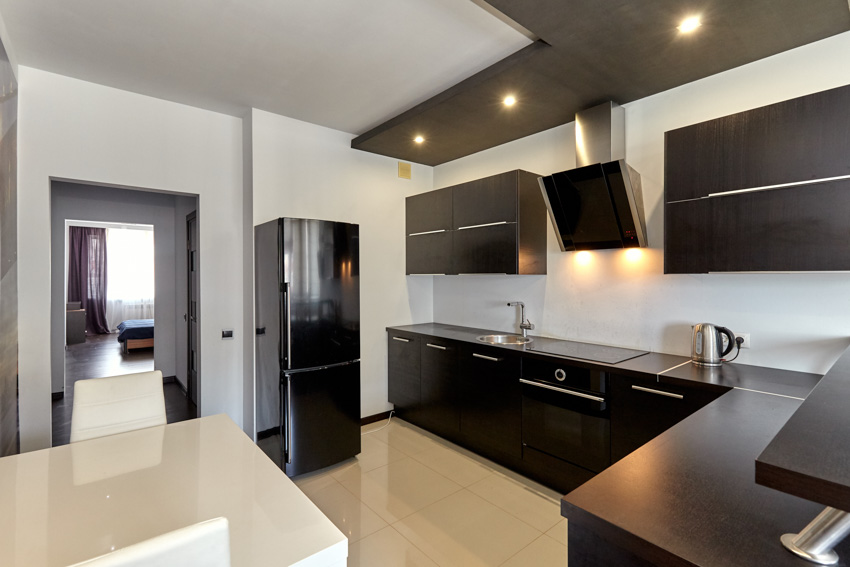 Black stainless steel appliances and kitchen cabinets