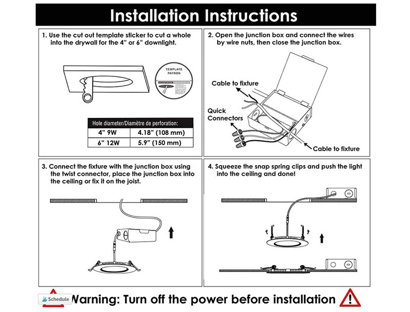 Canless recessed lights installation instructions