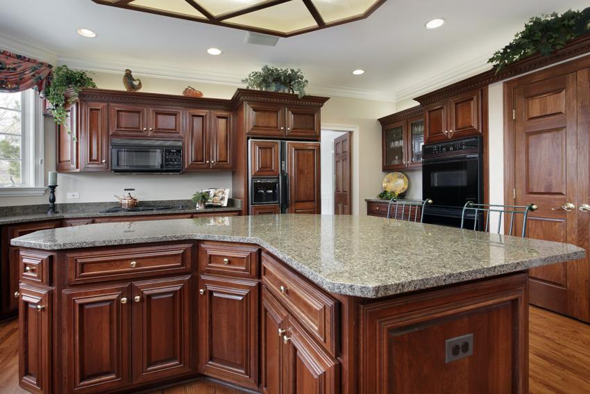 Dark wood cabinets marble countertop black stainless steel appliances indoor plant kitchen recessed lighting