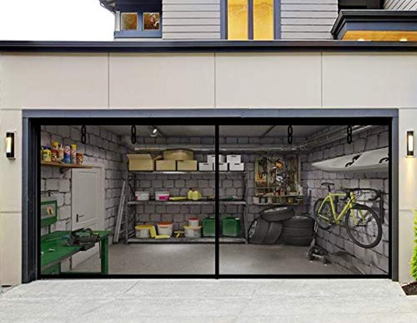 Fiberglass magnetic garage screen door