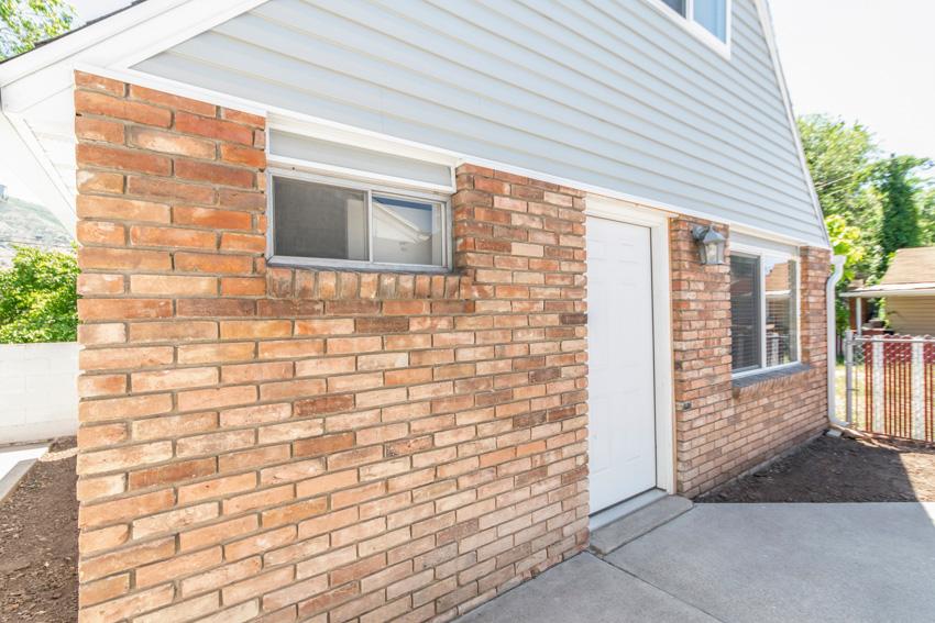 House exterior made of bricks front door