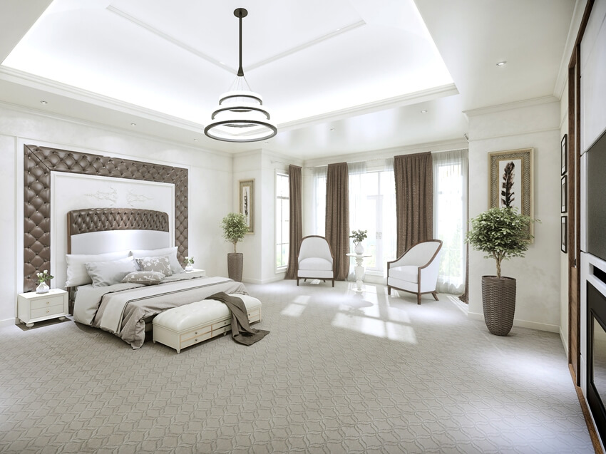 Huge modern master suite interior with large windows from floor to ceiling