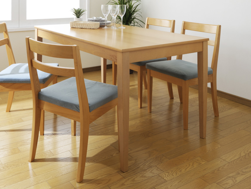 Light wood table wooden flooring dining area