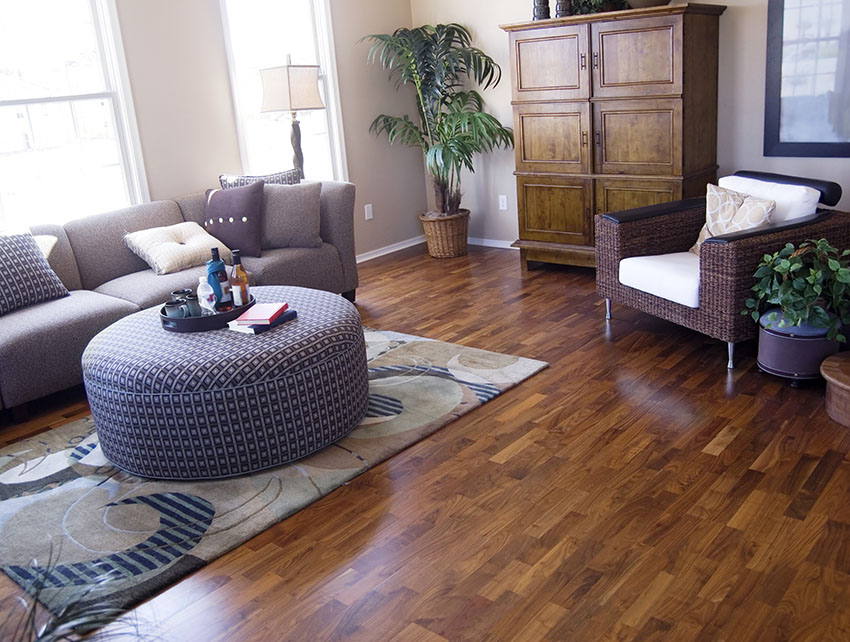 Living room with asian walnut hardwood flooring