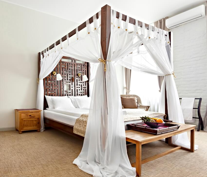 Luxurious modern bedroom interior with canopy bed
