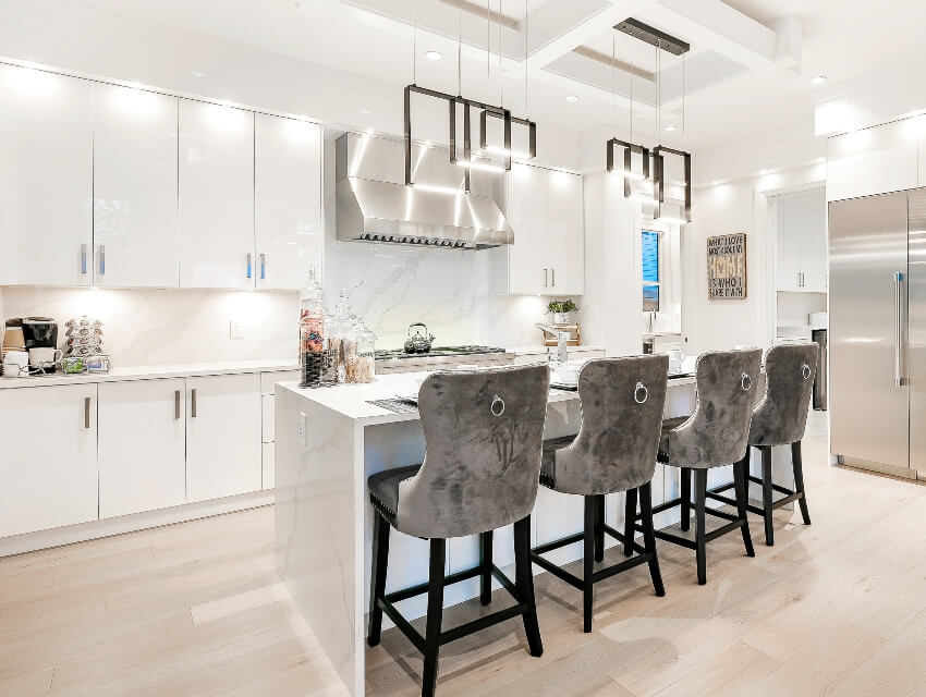 Luxury home kitchen interior with bright and clean finish
