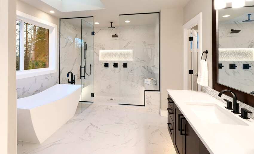 Luxury modern home bathroom interior with dark brown cabinets white marble walk in shower and free standing tub