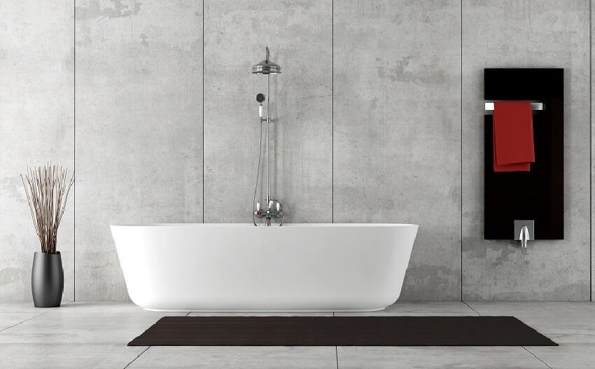 Minimalist bathroom with acrylic wall panels, bathtub and shower