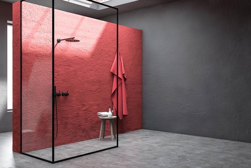 Modern bathroom color plaster shower walls