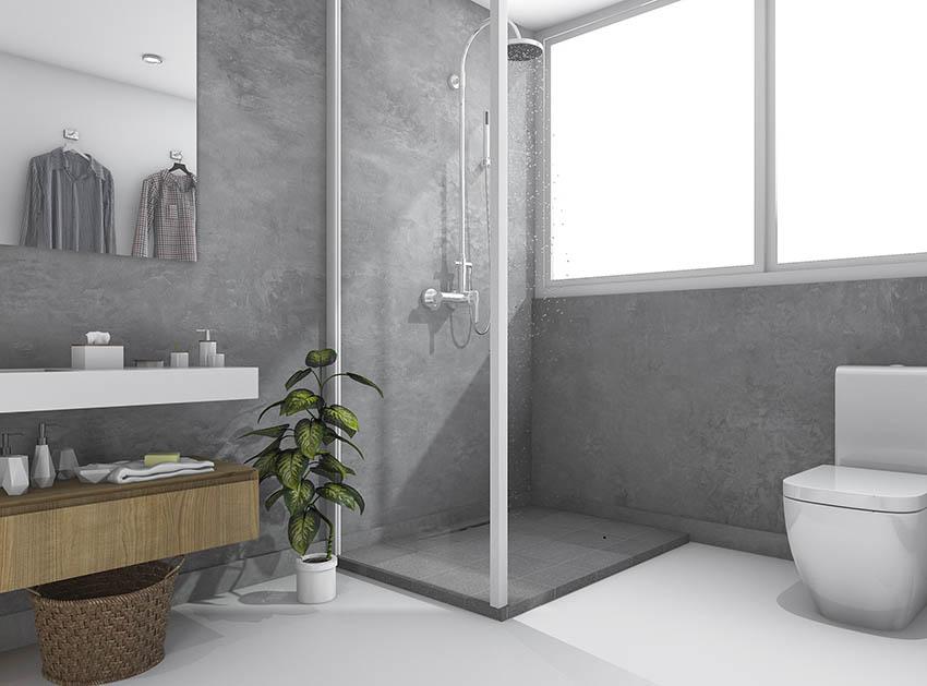 Modern bathroom gray tadelakt plaster walls shower