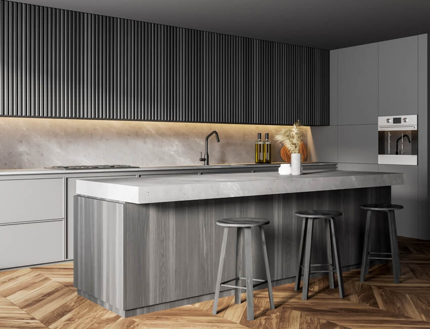 Modern kitchen with gray walls quartz countertop awith backsplah wooden floor bar counter with stools