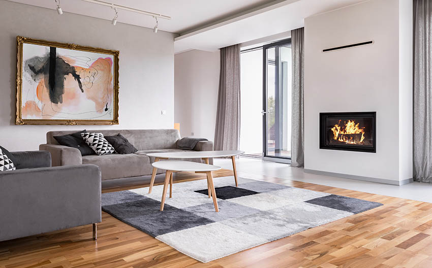 Modern living room with wood style vinyl flooring