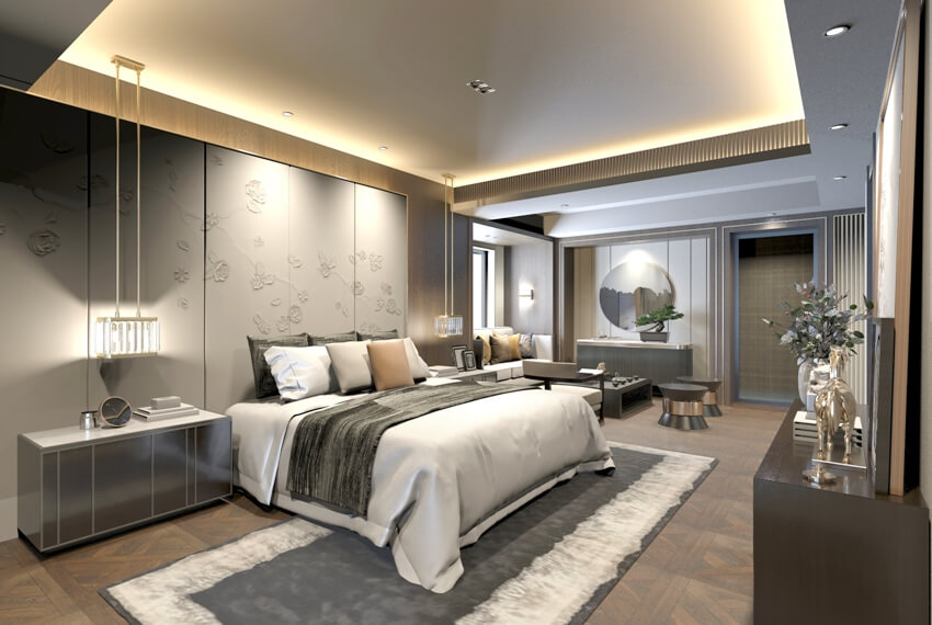 Modern master suite with luxury furniture