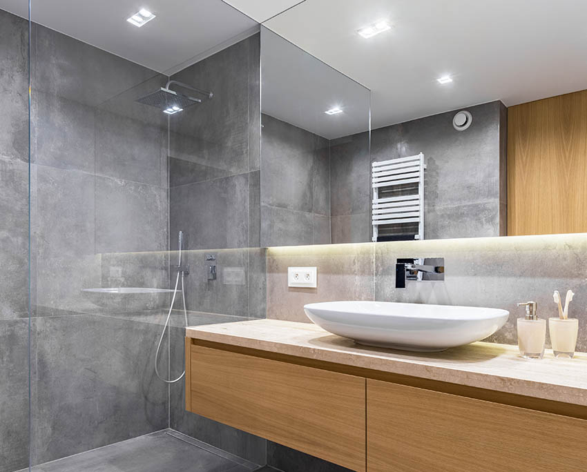 Modern shower gray tadelakt plaster walls rainfall head floating vanity