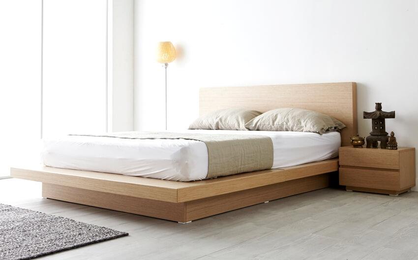 Modern zen type bedroom with wooden platform bed and bedside table