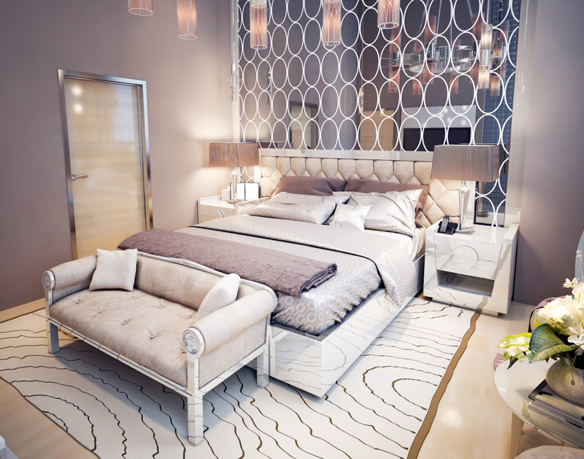 Multiple mirrors above bed rug bedside table small sofa chair
