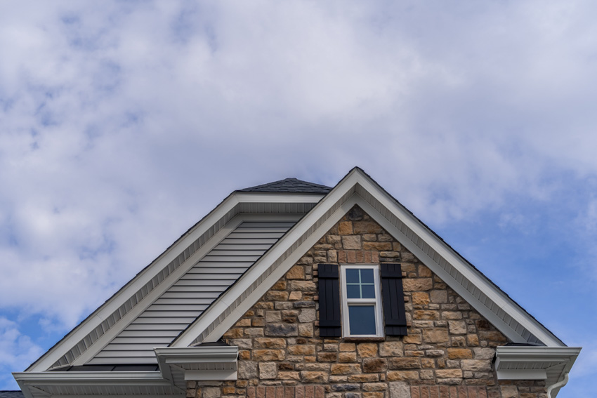 Steep angle of pitched roof