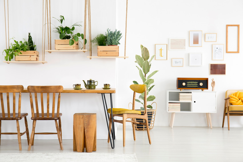 Table with hairpin legs modern and bright kitchen indoor plants